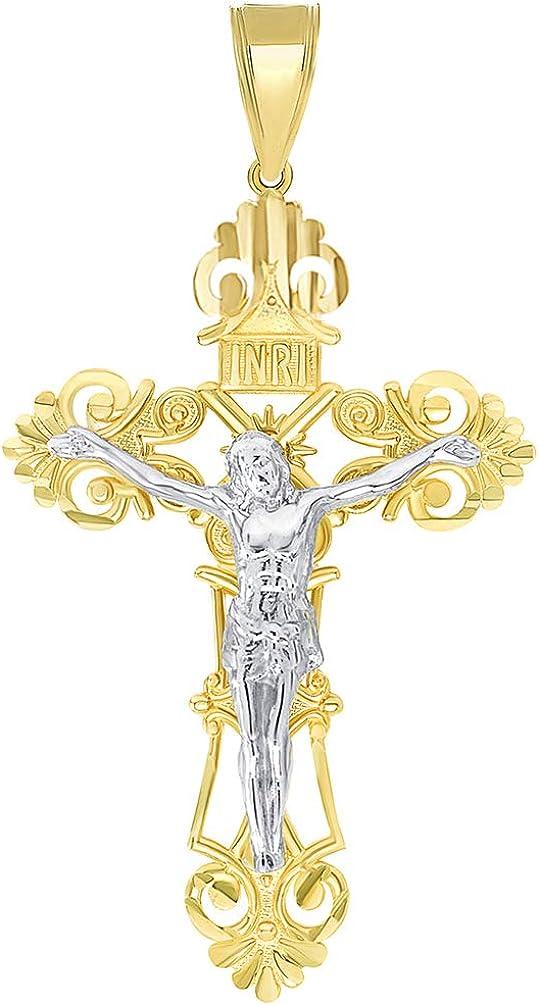 14k Solid Two Tone Gold Roman Catholic Cross Crucifix Pendant