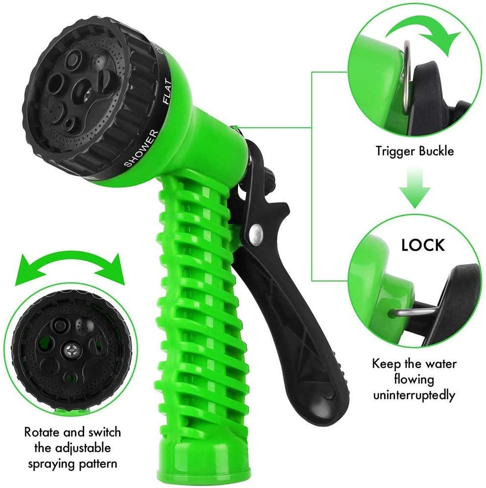 expandable garden hose, 25-FT150FT inflatable hose, durable flexible leak-proof hose, 7 kinds of high-pressure water spray nozzle For courtyard gardens 125ft