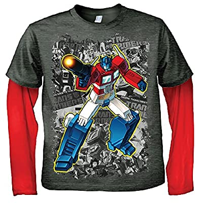 Transformers Optimus Comic Youth Graphic Heather T-Shirt