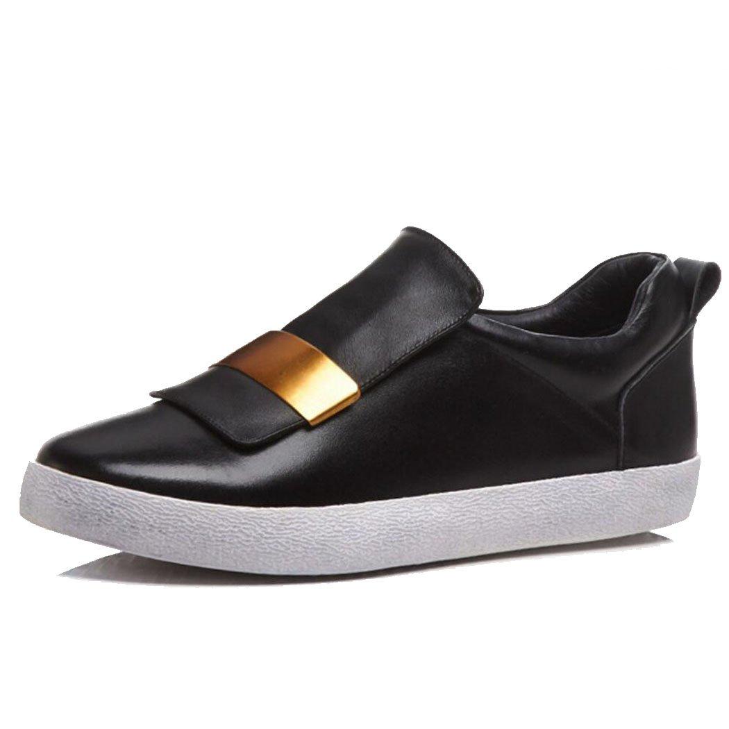 LOHU Frauen Flache Freizeitschuhe Pumps Fashion Loafers Komfortable Skateboard Schuhe Weiß Schwarz Silber