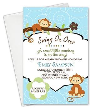 Amazon safari jungle monkey baby shower invitations invitation safari jungle monkey baby shower invitations invitation filmwisefo
