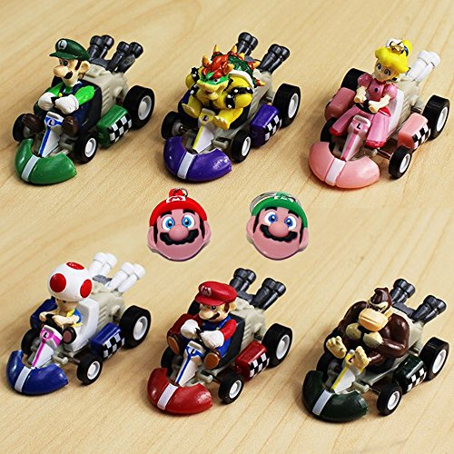 Mario Kart Cars Pull Backs Figure Set (6 pcs) and Keychains (2 pcs) by Nintendo