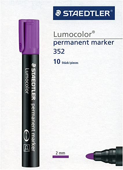 STAEDTLER Lumocolor 352-6. Rotuladores permanentes de color morado. Caja con 10 unidades.: Amazon.es: Oficina y papelería