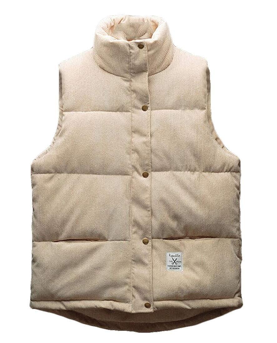 UNINUKOO Unko Mens Thick Soild Color Fleece Sleeveless Padded Vest Outdoor