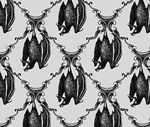 Bats Fabric Hanging Around - Light by Thecalvarium Printed on Eco Canvas Fabric by the Yard by (45 Grave Halloween)