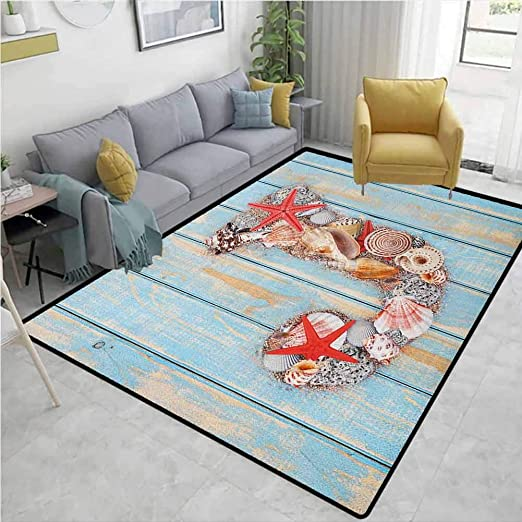 Yucouhome Letter J Sports Area Rug Pad Summer Holiday On Tropical Beach Theme J Rustic Old Wood Planks Durable Carpet Area Rug Living Dinning Room Bedroom Rugs And Carpets 2 5 X 9 Amazon Ca
