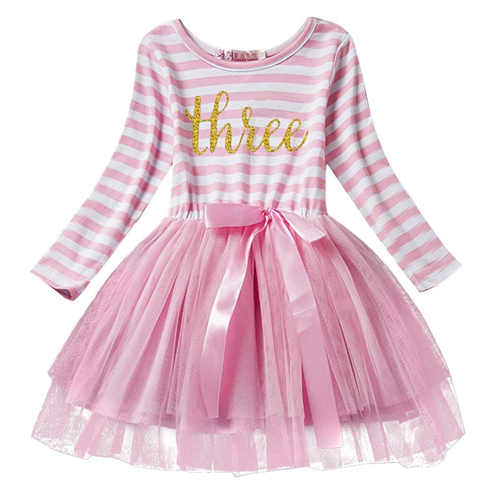 IWEMEK Baby Girls Toddler Kids Princess Long Sleeve Dress 1st/2nd/3rd Birthday Cake Smash Shiny Printed Striped Tulle Tutu Dress Party Outfit