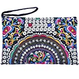 Sabai Jai - Embroidered Clutch Purse with Wristlet - Large Boho Purses and Handbags (Flowers/Multi)