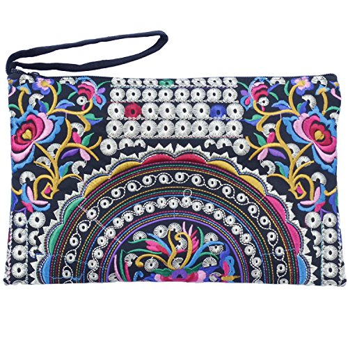 Sabai Jai - Embroidered Clutch Purse with Wristlet - Large Boho Purses and Handbags (Flowers/Multi) ()