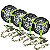 VULCAN HI-VIZ 96'' Lasso Auto Tie Down w/Chain Anchors - 3300 lbs. SWL 4 Pack