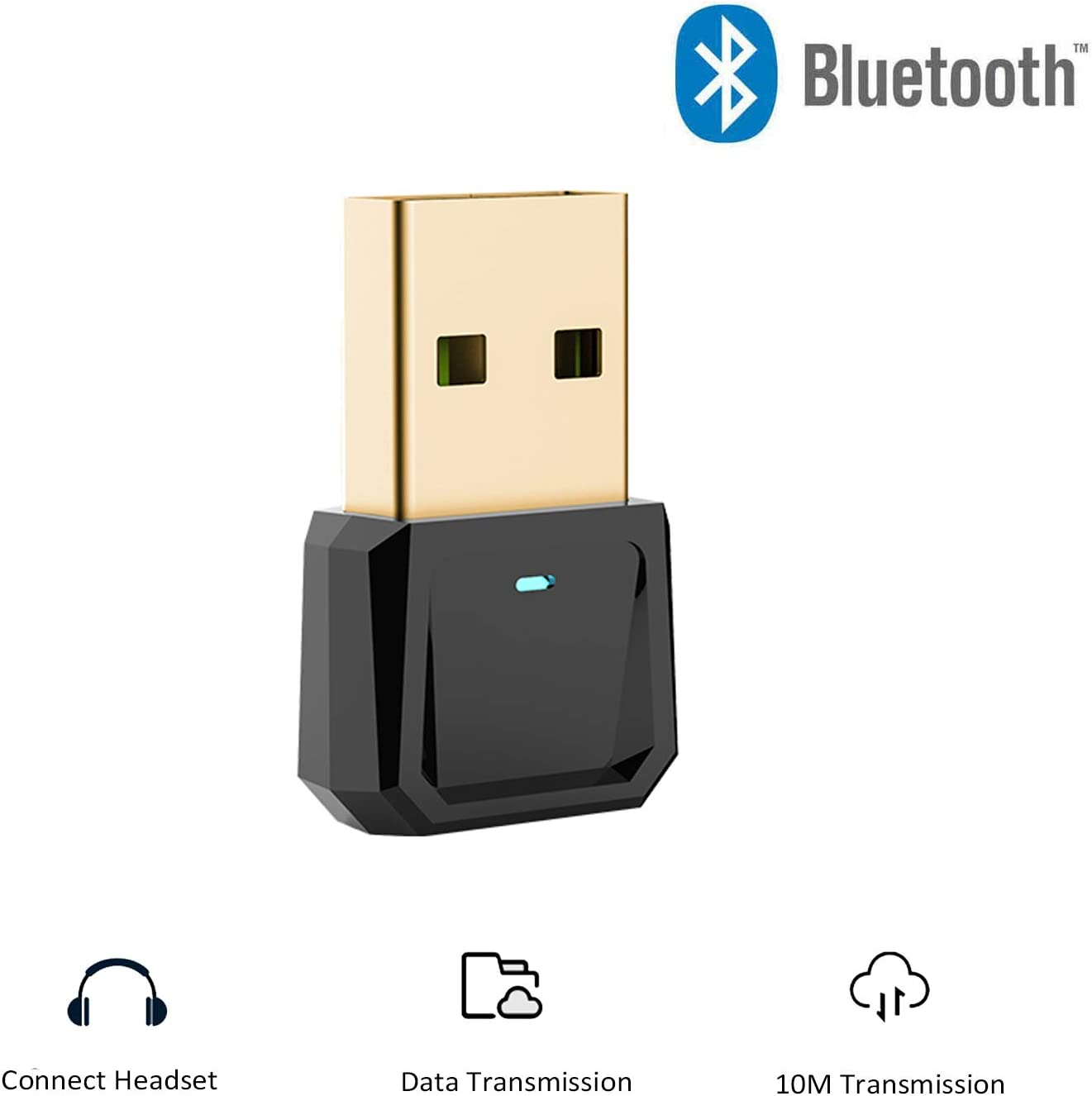 USB Bluetooth Adapter, Wireless Bluetooth Dongle for PC Desktop Laptop Tablet, Works with Windows 10/8.1/8/7/Vista/XP, Compatible with Bluetooth Mouse/Keyboard/Speakers/Headset