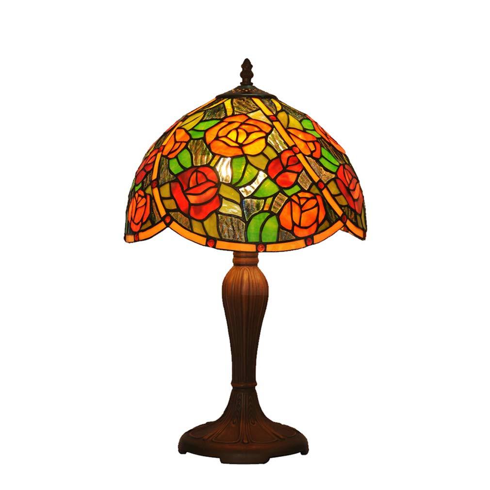 Unbekannt Tiffany Stil Kleine Tischlampe Floral Design Schlafzimmer Nachttischlampe Studie Kinderzimmer Tischlampe 12 Zoll Glasmalerei Zink-Legierung Basis 110 v-220 v E27x1 (Ohne Glühbirne)
