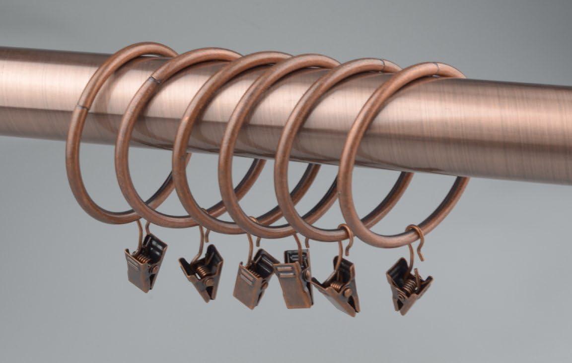 50 mm de di/ámetro Juego de 14 anillas para cortina con pinzas y gancho
