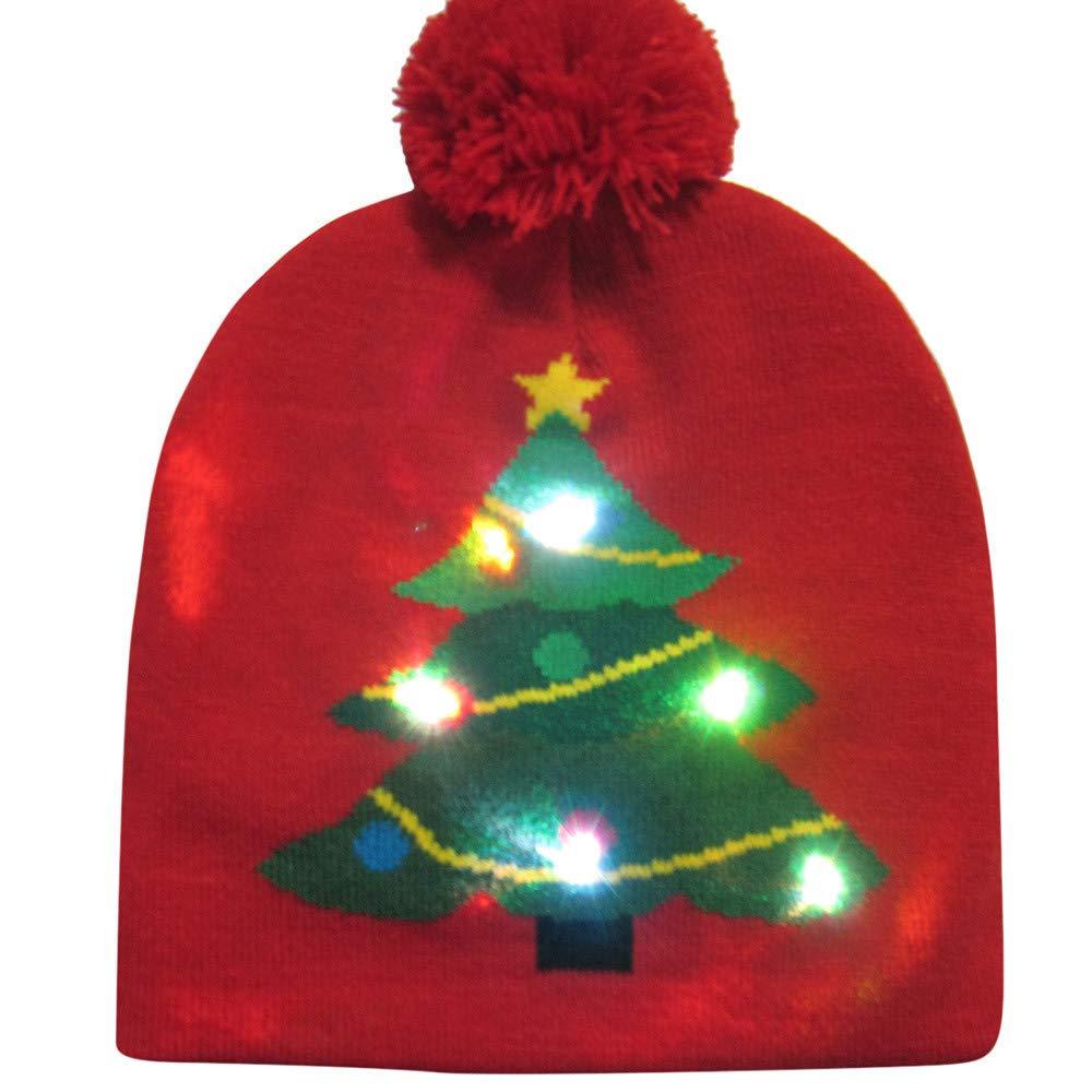 LED Mütze Piebo LED Leuchten Hut Mütze Stricken 6 Bunte LED Xmas Weihnachten Hut Mütze Winter Schnee Hut Pullover Hüte Beanie Cap Weihnachtsmütze Wintermütze Strickmütze