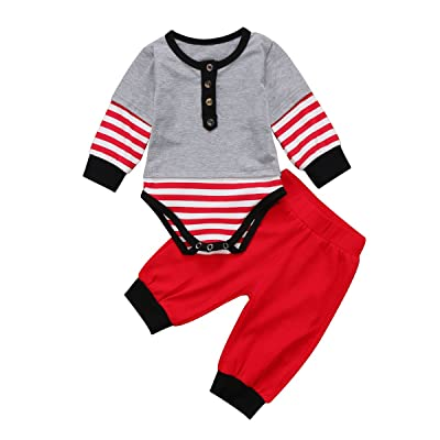 ba3070dfa XARAZA Baby Girls Boys Christmas Clothes Long Sleeve Romper + Pants +  Headband 3pcs Outfit Set