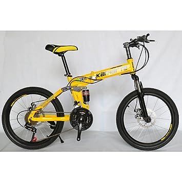YEARLY Bicicleta plegable estudiante, Bicicleta plegable infantil Amortiguador de choque doble Montaña 21 velocidades Hombres
