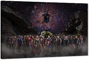 Marvel Avengers Canvas Wall Art, Movie Superhero Canvas Painting Marvel Poster Framed Artwork for Home Wall Decor, Avengers Super Hero Iron Man Captain America Hulk Room Decor for Boys (12