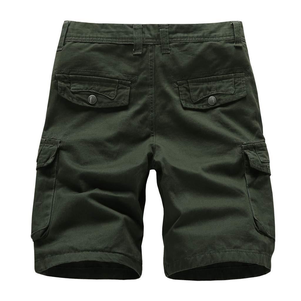 LEERYAAY Cargo&Chinos Men's Summer Outdoors Casual Loose Multiple-Pockets Cotton Overalls Beach Shorts ArmyGreen by LEERYAAY (Image #1)