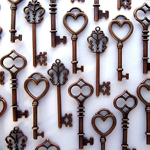 Mixed 30PCS Key Set, Antique Skeleton Keys, Vintage Steam Punk Keys, Castle Dungeon Pirate Keys for Birthday Party Favors, Mini Treasure Toy Gifts, Medieval Middle Ages Theme, Juliet (Copper)
