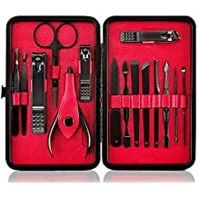Professional Manicure Pedicure Set Nail Clipper -15 Piece Stainless Steel Heavy Duty Nail Care Aids -Fingernail Clippers,Toenail Clippers -Portable Travel & Grooming Kit Tools -Deluxe ((Black&Red))