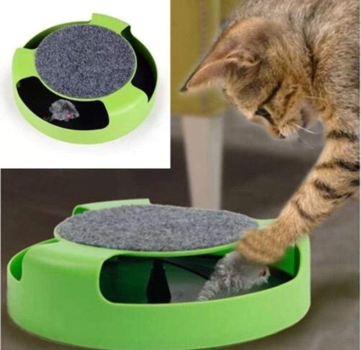 Falcon Pet Cat Kitten Catch The Mouse Plush Motion Chase Toy Claw Care Moving Play Scratching Pad Mat