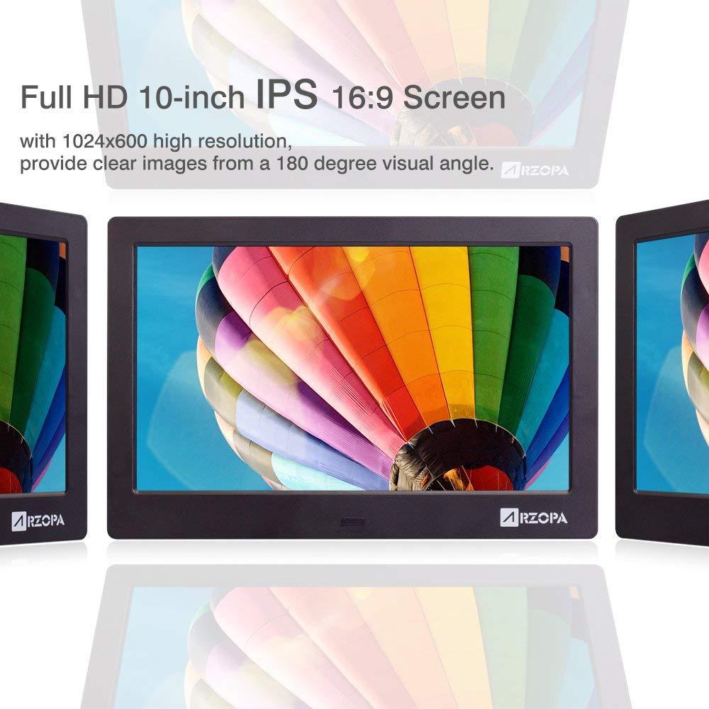 ARZOPA 10 pulgadas IPS Marco Digital con Amplia Pantalla HD 16:9 con Funciónales de Álbum del Cuadro Apoyar MP3 MP4 Vídeo Reloj Calendario Modelo de ...