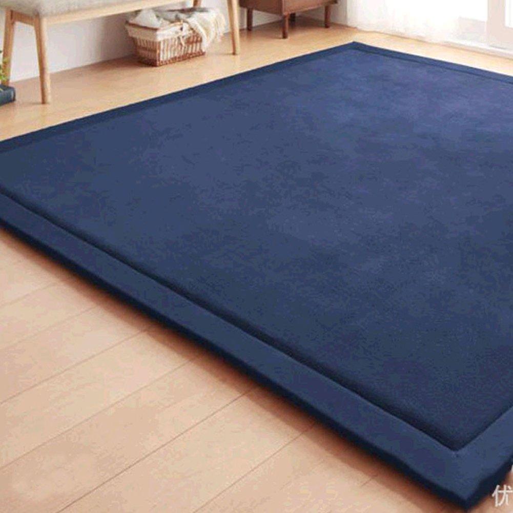 Baby Play Mat, Japanese Thicken Coral Velvet Carpet Children Crawling Mat Tatami Mat Living Room Bedroom Mat Area Rug, Foam Mat Play Mats Yoga Mat, Blue Area Rug, 59 by 78 inch