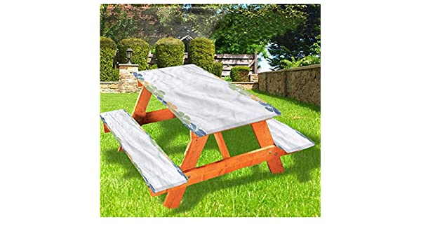 Patio Furniture Accessories 72 Polyester Picnic Table And Bench Fitted Tablecloth Flower Petals Blossoms Shabby Chic Fragrance Florets Nature Spring Tropical Design 3 Piece Elastic Edged Table Cover For Christmas Parties Picnic Patio Lawn