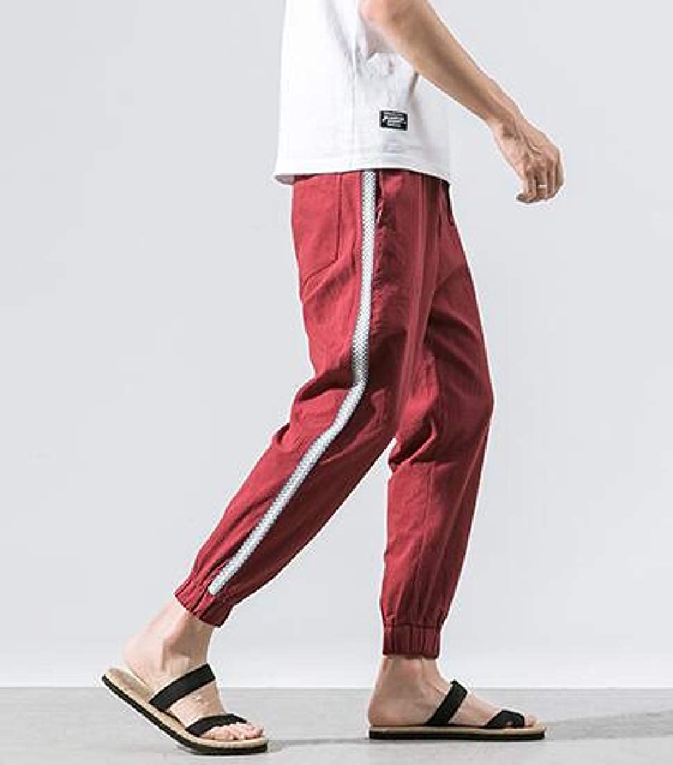 Etecredpow Mens Elastic Waist Big and Tall Cotton Jogging Striped Trousers Pants