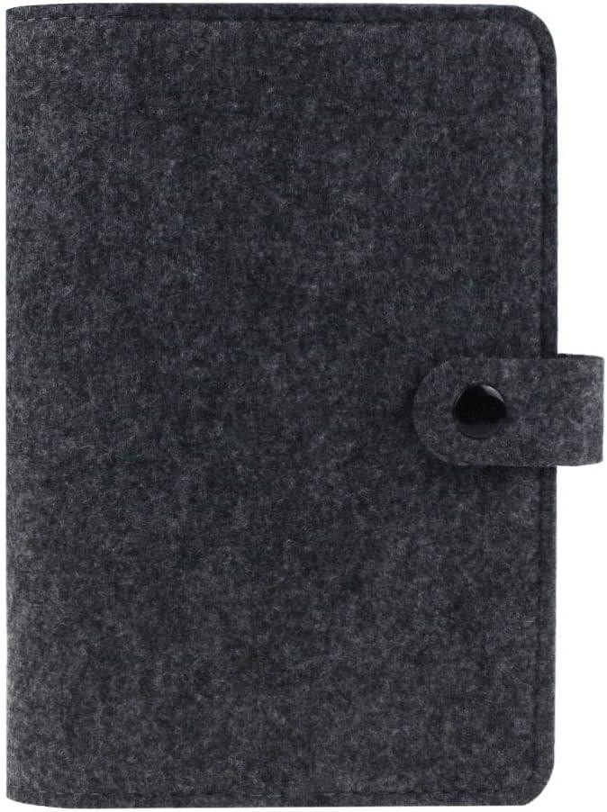 Carpeta de fieltro tamaño A6, cuaderno en espiral, carpeta de 6 anillas,diario de viaje recargable, diario de viaje, diario de viajeros, cubierta de cuaderno con botón de presión, color gris oscuro