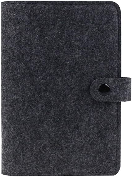 Carpeta de fieltro tamaño A6, cuaderno en espiral, carpeta de 6 anillas,diario de viaje recargable, diario de viaje, diario de viajeros, cubierta de cuaderno con botón de presión, color gris oscuro: Amazon.es: