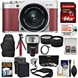 Fujifilm X-A5 Wi-Fi Digital Camera & 15-45mm XC Lens (Pink) with 64GB Card + Battery & Charger + Backpack + Tripod + Flash + Tele/Wide Lens Kit
