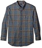 Arrow Men's Big and Tall Long Sleeve Plaid Flannel Shirt, Bering sea Heather, 2X-Large Big
