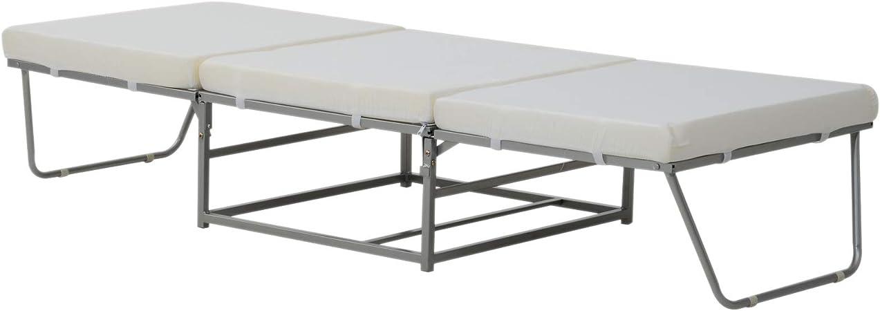 Cotone Spugna Grigio 192x69x37cm Max:150kg HOMCOM Divano Letto Design 2-in-1 Pieghevole 3 Cuscini Imbottiti Pelle Ferro