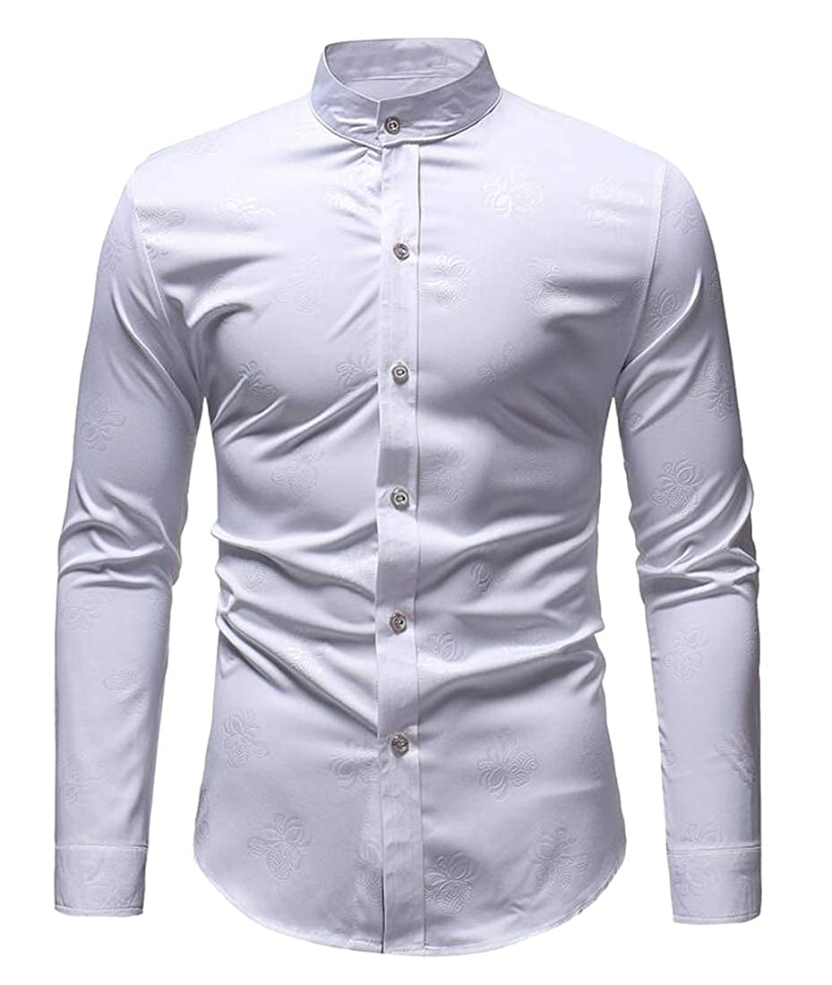 Fubotevic Mens Print Slim Long Sleeve Formal Stand Collar Button Down Dress Work Shirt