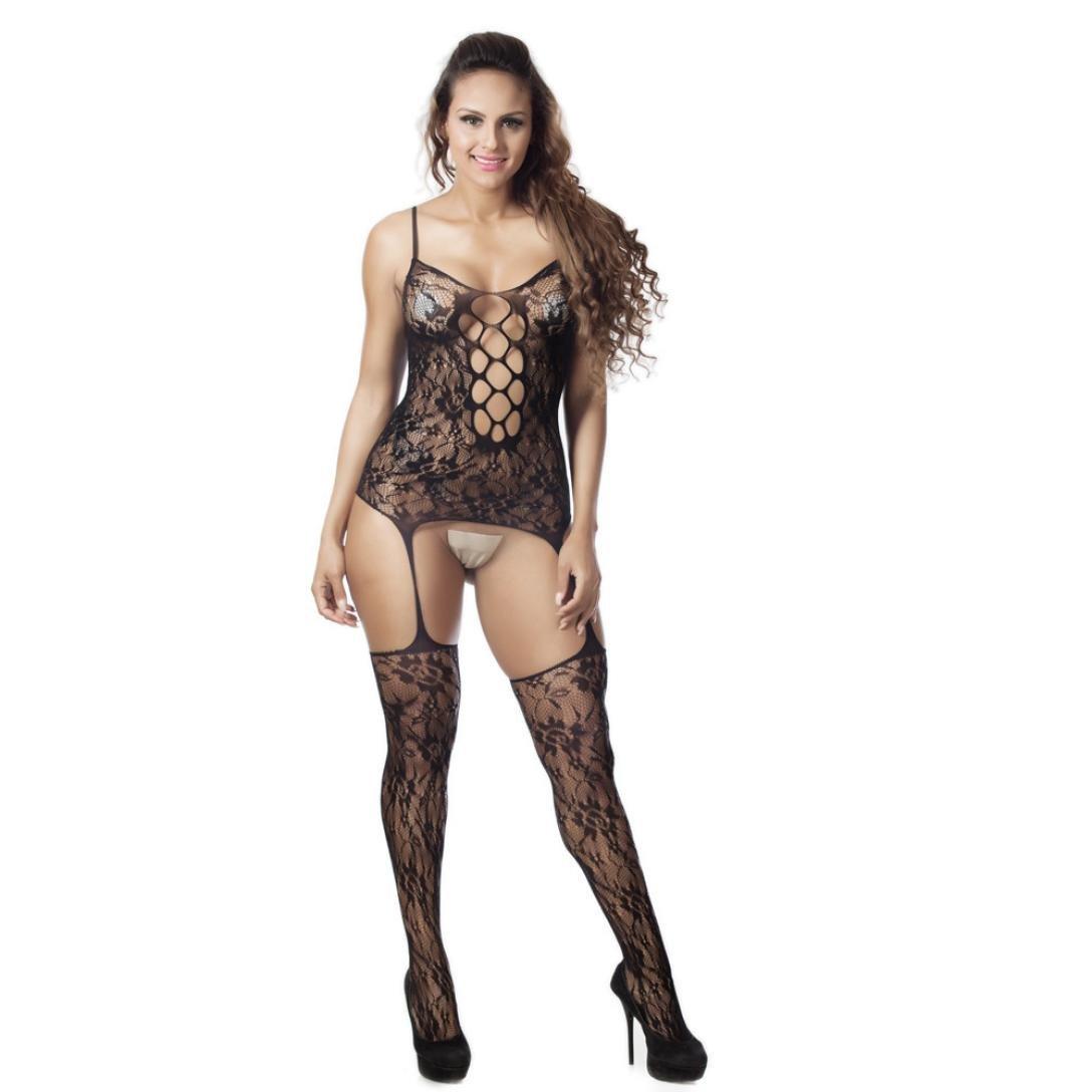 131ae21e293 Amazon.com  baskuwish Sexy Women Mesh Openwork Conjoined Lingerie Body  Stocking Bodysuit Lingerie (Black)  Clothing
