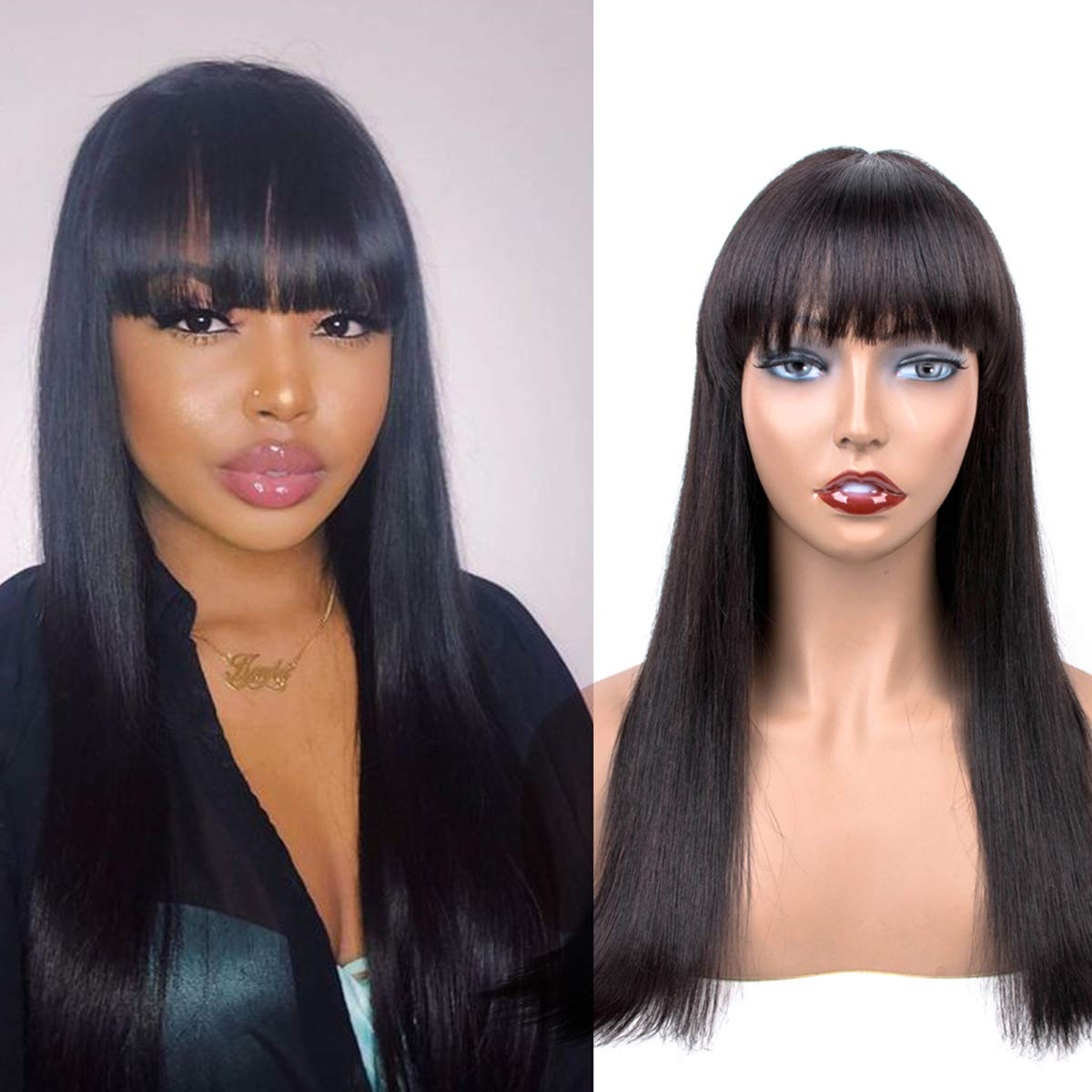 Amazon Com Human Hair Wigs With Bangs 20inch Original Queen Straight Wigs Brazilian Unprocessed Virgin Hair Machine Made None Lace Wigs With Elastic Bands Beauty
