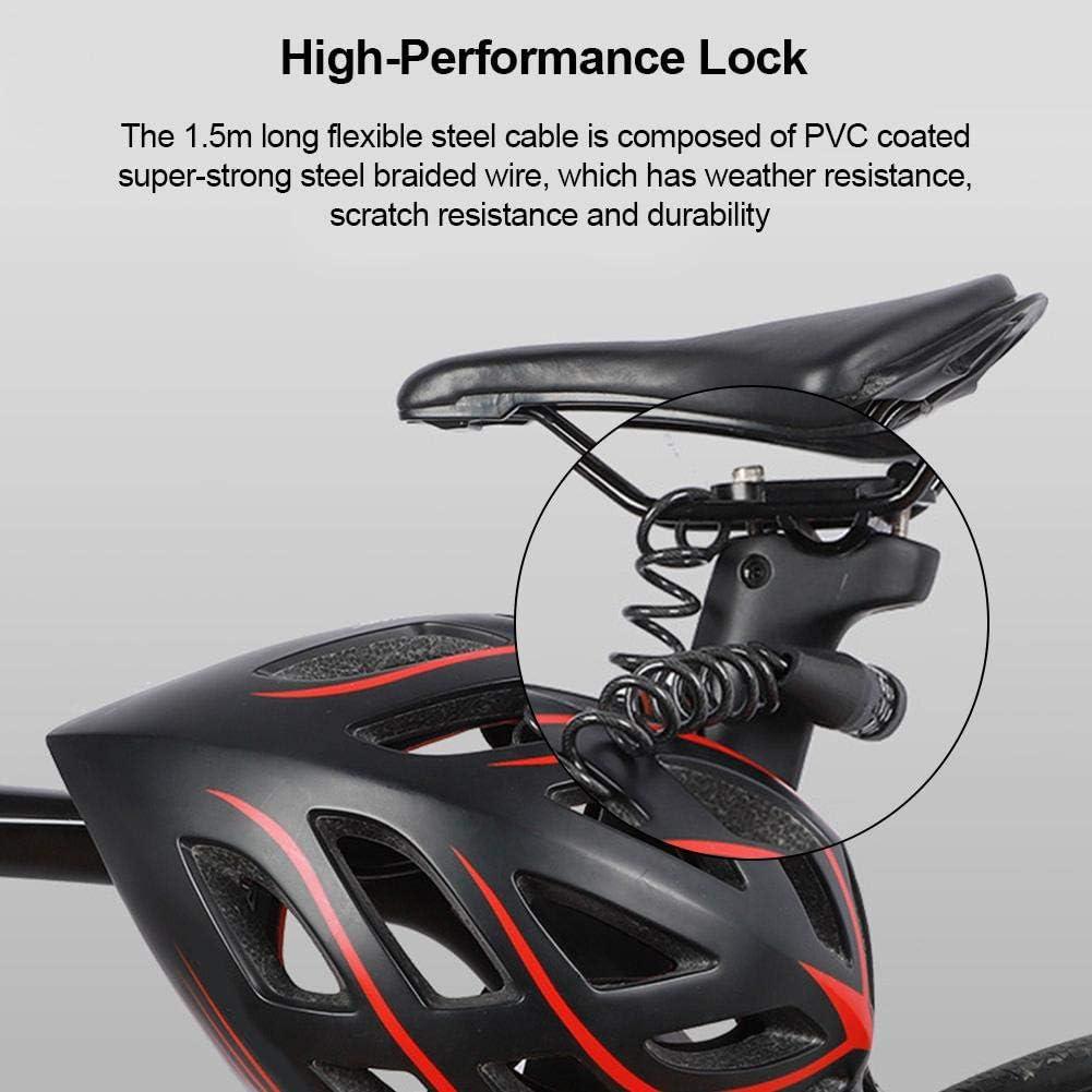 cable antirrobo con 4 d/ígitos 150 cm ForYOURS Mini candado para casco de bicicleta cable antirrobo para motocicleta//casco//equipaje superligero y compacto