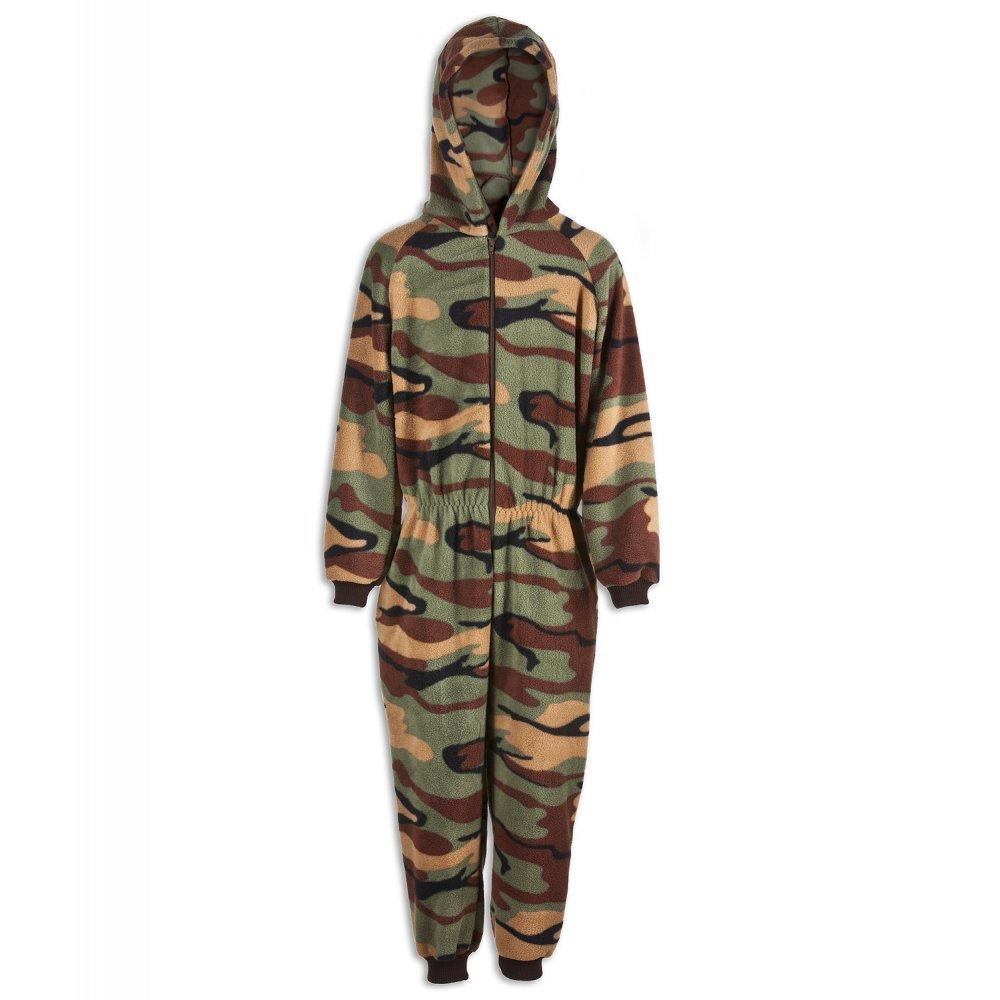 Camille Childrens Unisex Green Camouflage Print All In One Pyjama Onesie