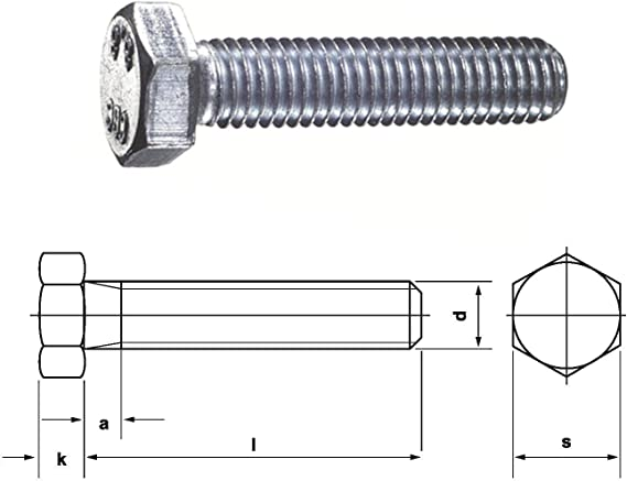 Formerly DIN 931 M 8 x 55 DRESSELHAUS 0//0202//001//8,0//55// //01 Hexagon Head Screws with Shaft 8.8 EN ISO 4014 Galvanised Pack of 200