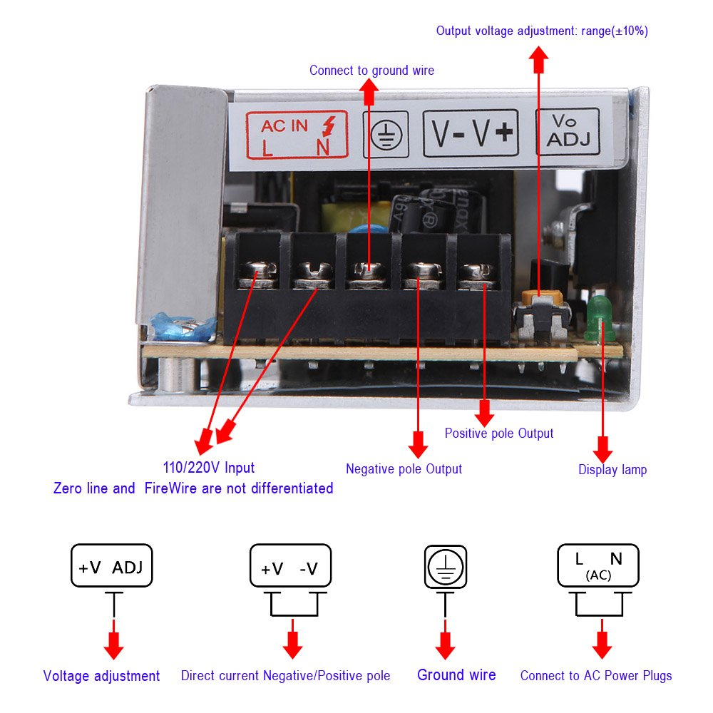 Walmeck Led Power Supply Ac 110v 220v To Dc 12v 25a Circuit Diagram For 30w Voltage Transformer Switch Indoor Home Kitchen