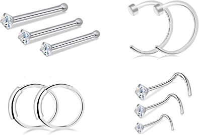 Tornito 20 Pcs 20G Stainless Steel Nose Ring Hoop Nose Ring Stud Cartilage Piercing Jewelry 8MM