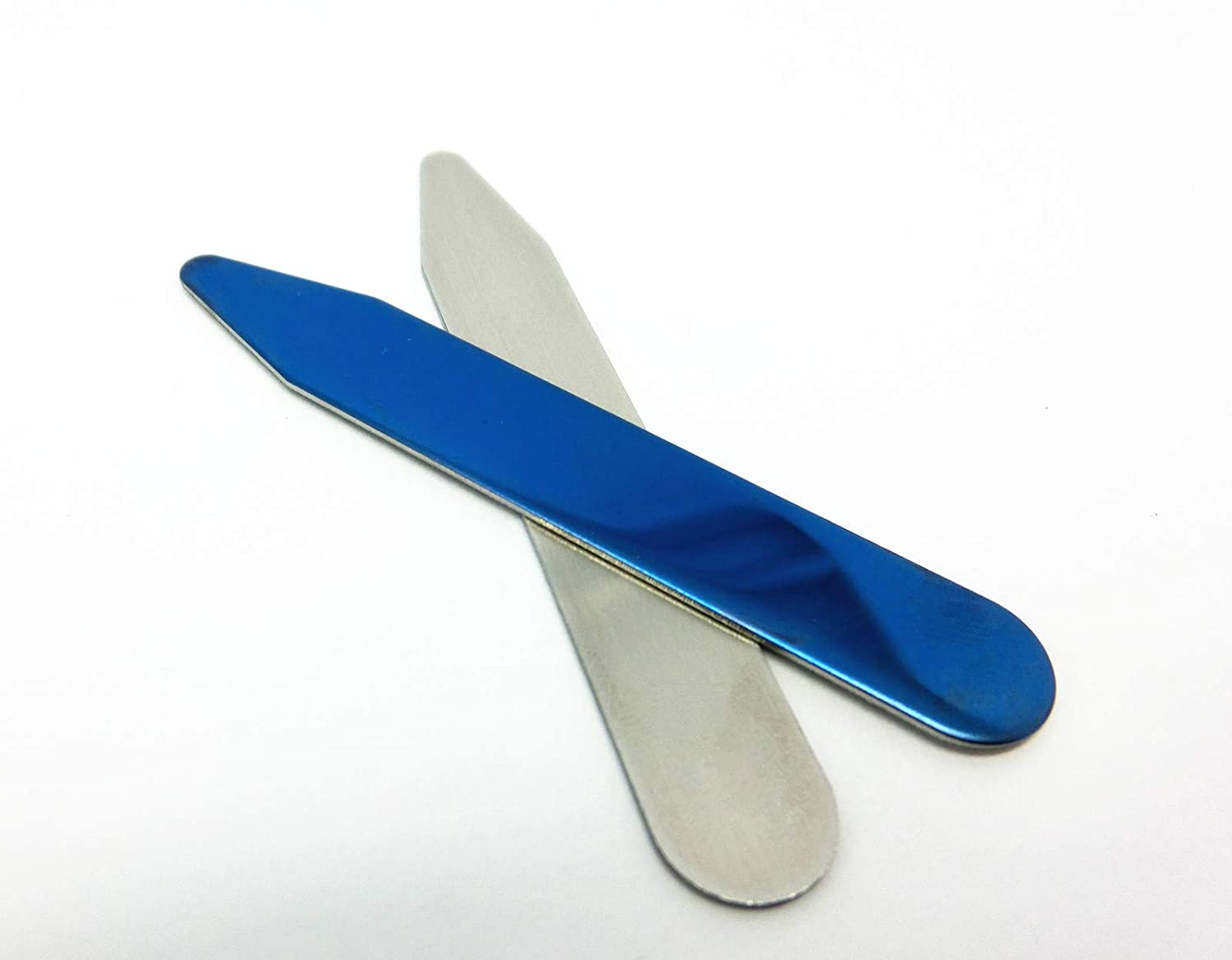 Double Sided Design DG-blue-20pcs Shang Zun 20 Pcs Blue Stainless Steel Collar Stays in Clear Box