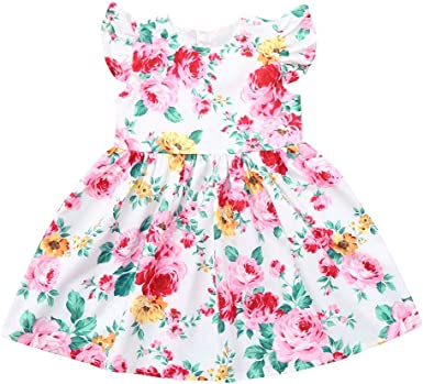 S Girls Baby Kids Summer Skirt Toddler Party Bow Flowers Floral Top knot  Dress