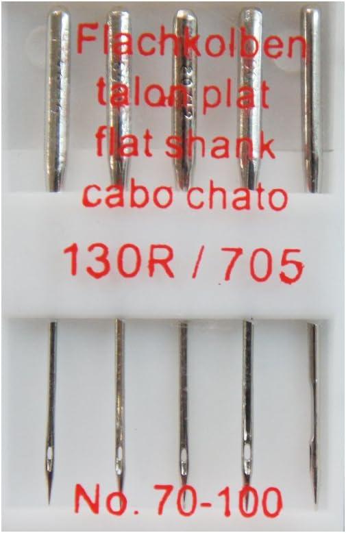 No Flachkolben N/ähmaschine Nadel, Wenco 5er Set N/ähmaschinennadeln 130R//705 70-100
