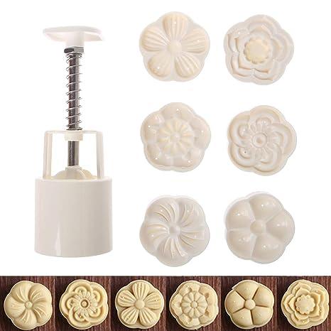 Manyo – Juego de 6 Molde de Luna moldes de repostería, Sellos de Flores Molde