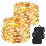 Kohree 120 Micro LEDs Fairy String Light Battery Powered on 40 Feet Long Ultra Thin String Copper Wire, Decor Rope Light with Timer Perfect for Weddings, Party, Bedroom, Xmas 2 Packs