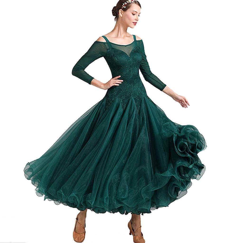 Adulto Valzer di Danza Moderna Abito da Spettacolo Professionale Manica Lunga Danza Standard Nazionale Tango Latino Gonna A Ruota in Organza