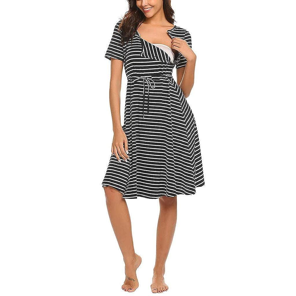 Women Maternity Short Sleeve Stripe Nursing Baby Nightdress Breastfeeding Dress