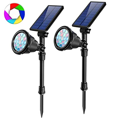 JSOT Outdoor Solar Spotlights, 2-in-1 Adjustable Solar Spot Light Waterproof RBG Colored Changing & Single 7 Fixed Color Landscape Lights Bright 18 LED Stake Floodlight for Tree Garden Decorations : Garden & Outdoor
